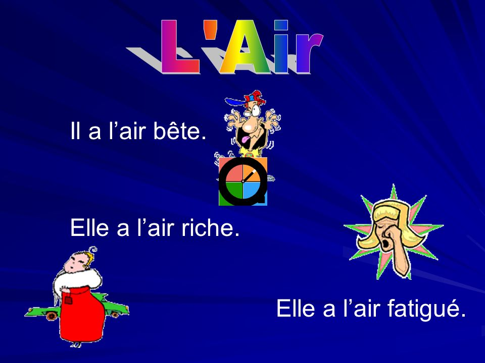 L Air Il a l'air bête. Elle a l'air riche. Elle a l'air fatigué.