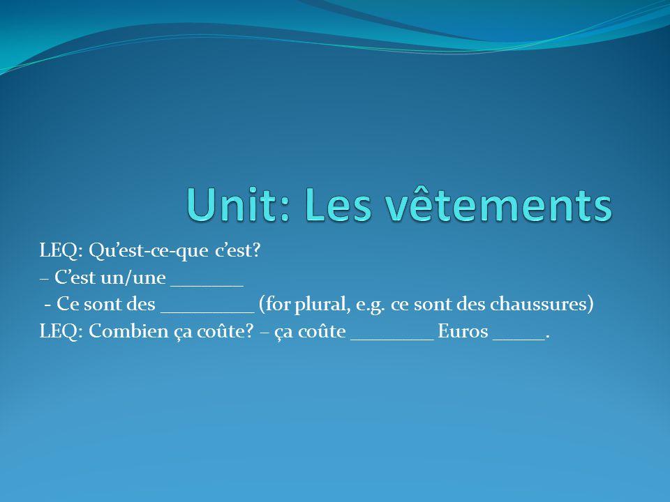 Unit: Les vêtements LEQ: Qu'est-ce-que c'est – C'est un/une _______