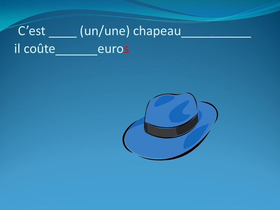 C'est ____ (un/une) chapeau__________ il coûte______euros