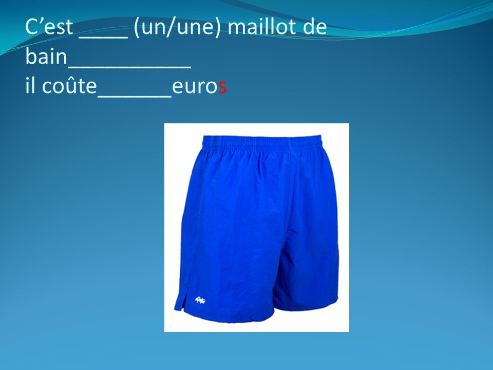 C'est ____ (un/une) maillot de bain__________ il coûte______euros