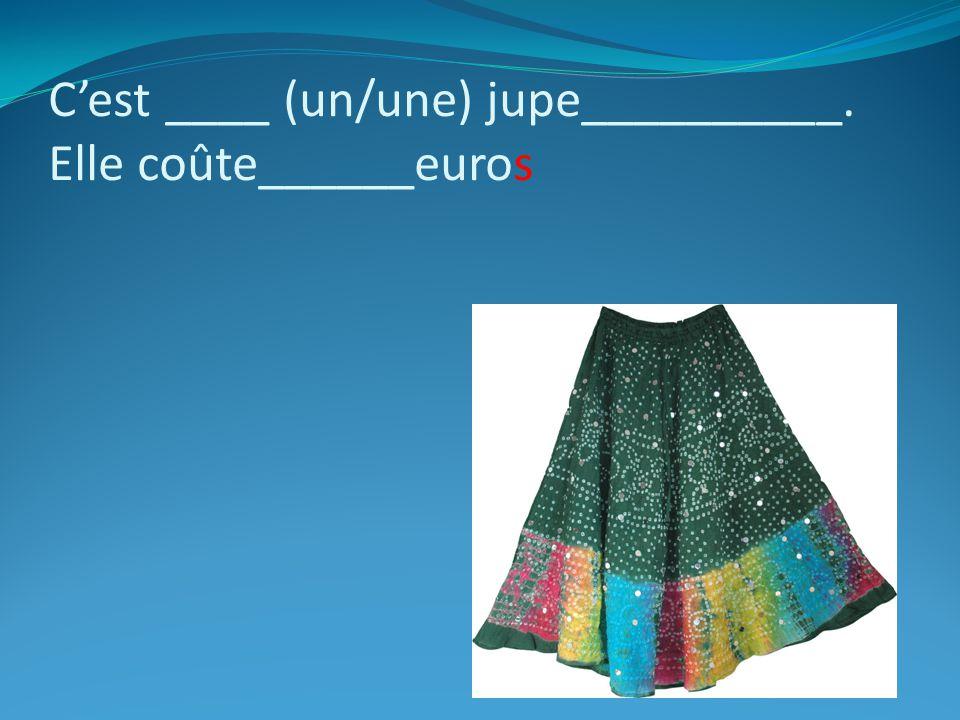 C'est ____ (un/une) jupe__________. Elle coûte______euros