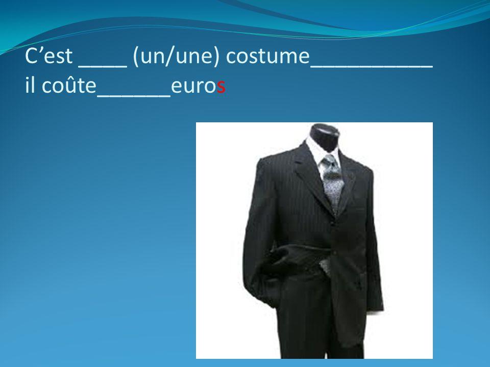 C'est ____ (un/une) costume__________ il coûte______euros