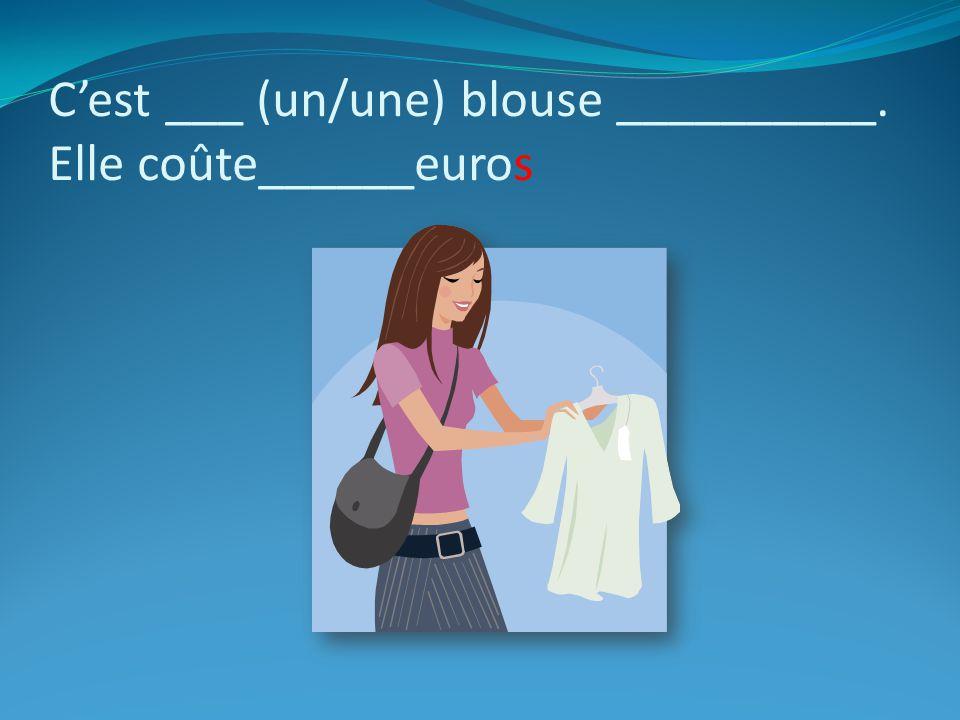 C'est ___ (un/une) blouse __________. Elle coûte______euros