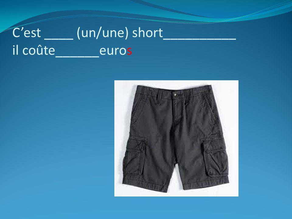 C'est ____ (un/une) short__________ il coûte______euros