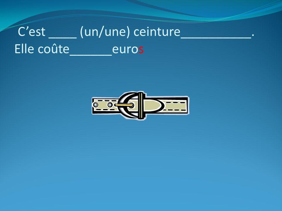 C'est ____ (un/une) ceinture__________. Elle coûte______euros
