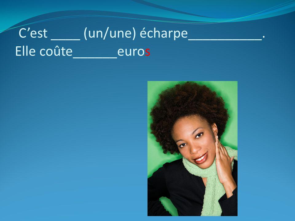 C'est ____ (un/une) écharpe__________. Elle coûte______euros