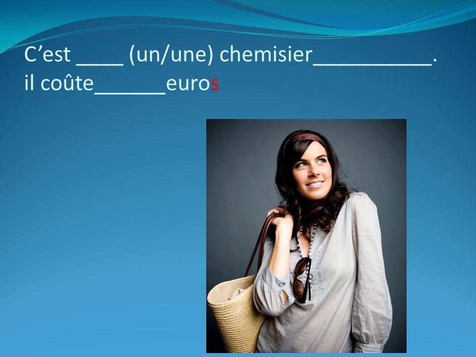 C'est ____ (un/une) chemisier__________. il coûte______euros