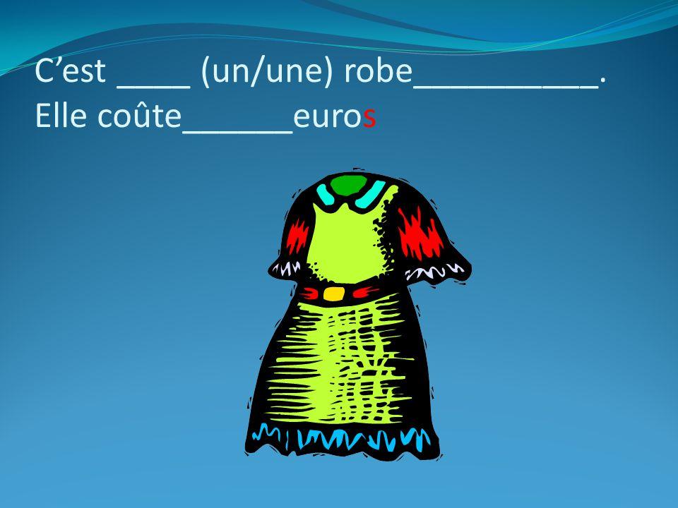 C'est ____ (un/une) robe__________. Elle coûte______euros