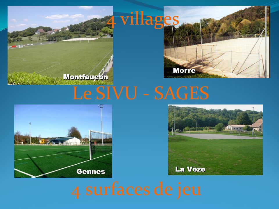 4 villages Le SIVU - SAGES 4 surfaces de jeu Morre Montfaucon La Vèze