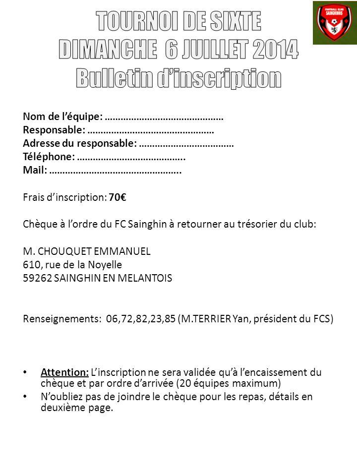 TOURNOI DE SIXTE DIMANCHE 6 JUILLET 2014 Bulletin d'inscription
