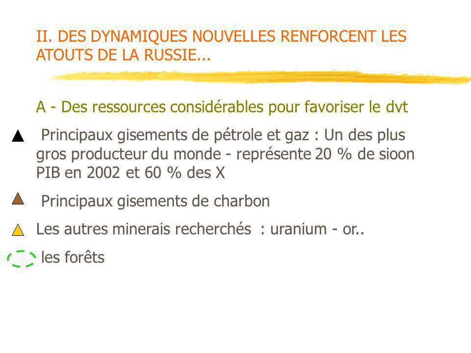 II. DES DYNAMIQUES NOUVELLES RENFORCENT LES ATOUTS DE LA RUSSIE...