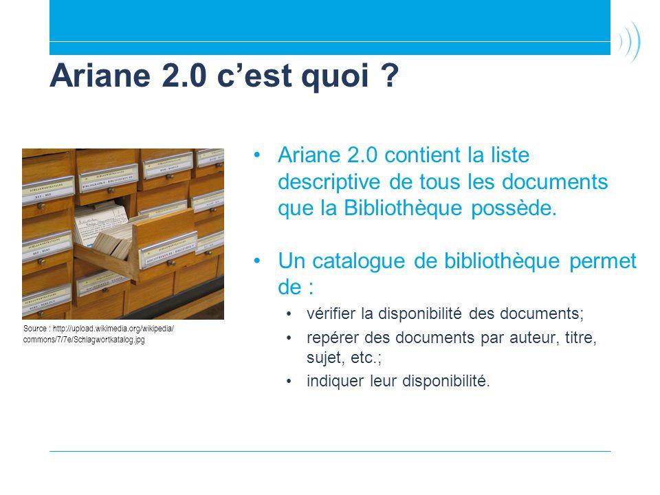 Ariane 2.0 c'est quoi Ariane 2.0 contient la liste descriptive de tous les documents que la Bibliothèque possède.