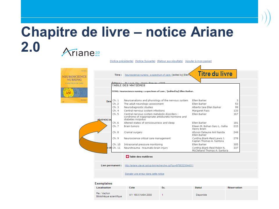 Chapitre de livre – notice Ariane 2.0