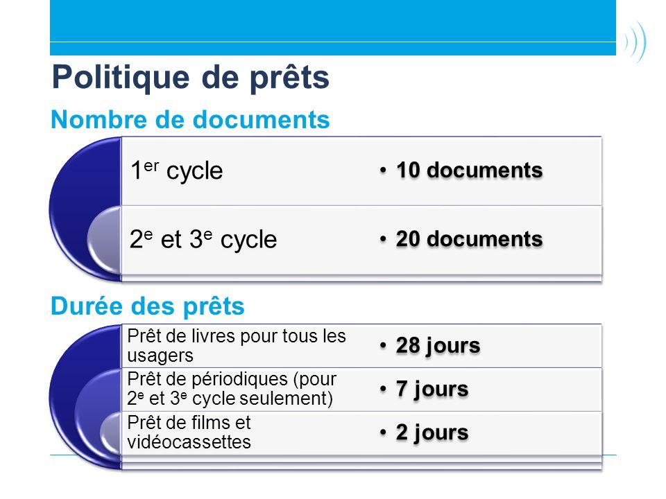 Politique de prêts 2e et 3e cycle 1er cycle