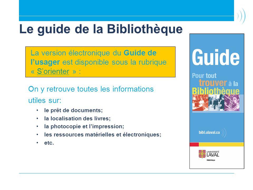 Le guide de la Bibliothèque