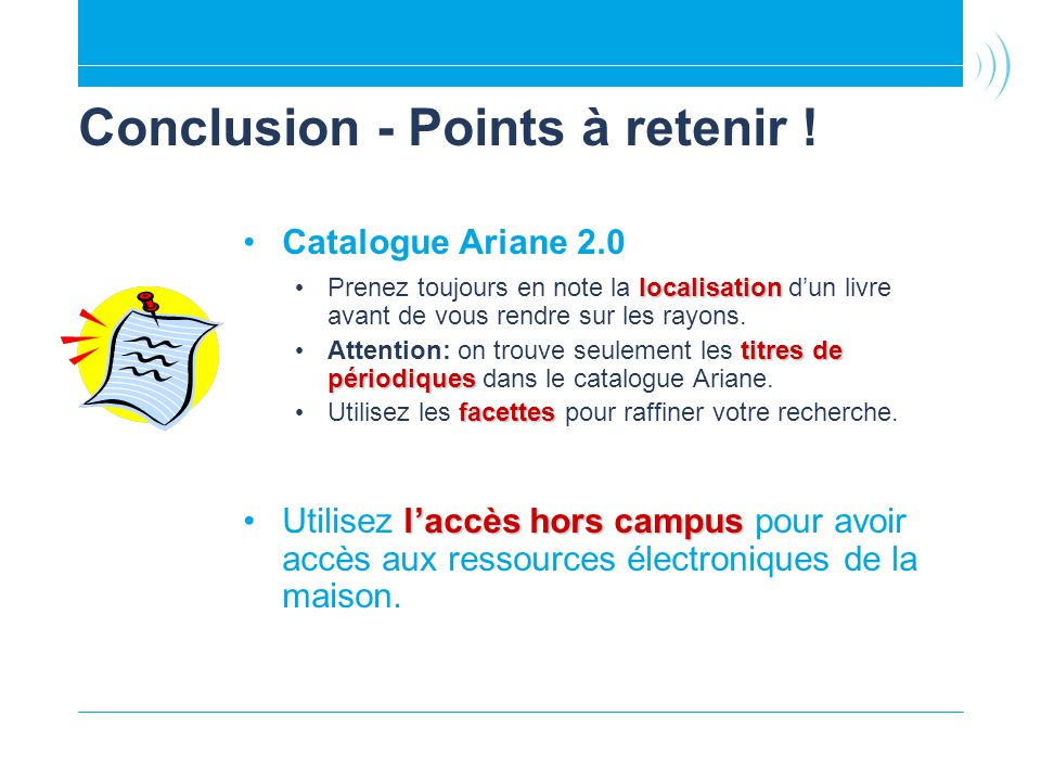 Conclusion - Points à retenir !