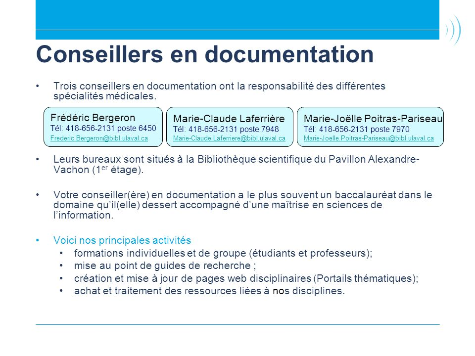 Conseillers en documentation
