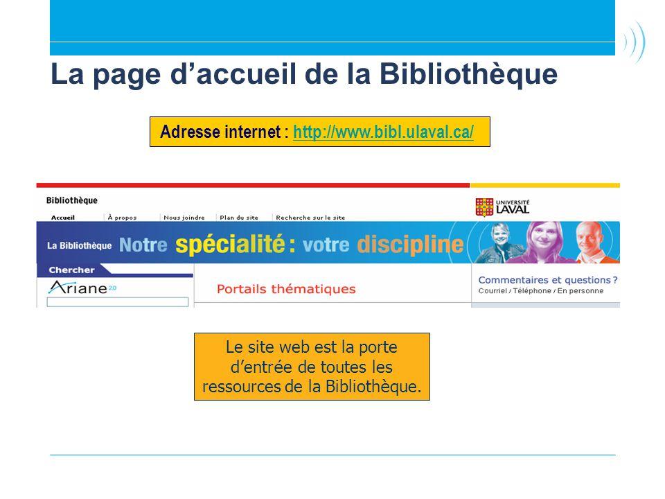 La page d'accueil de la Bibliothèque