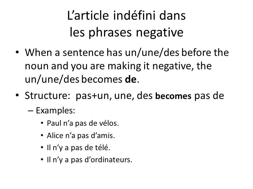 L'article indéfini dans les phrases negative