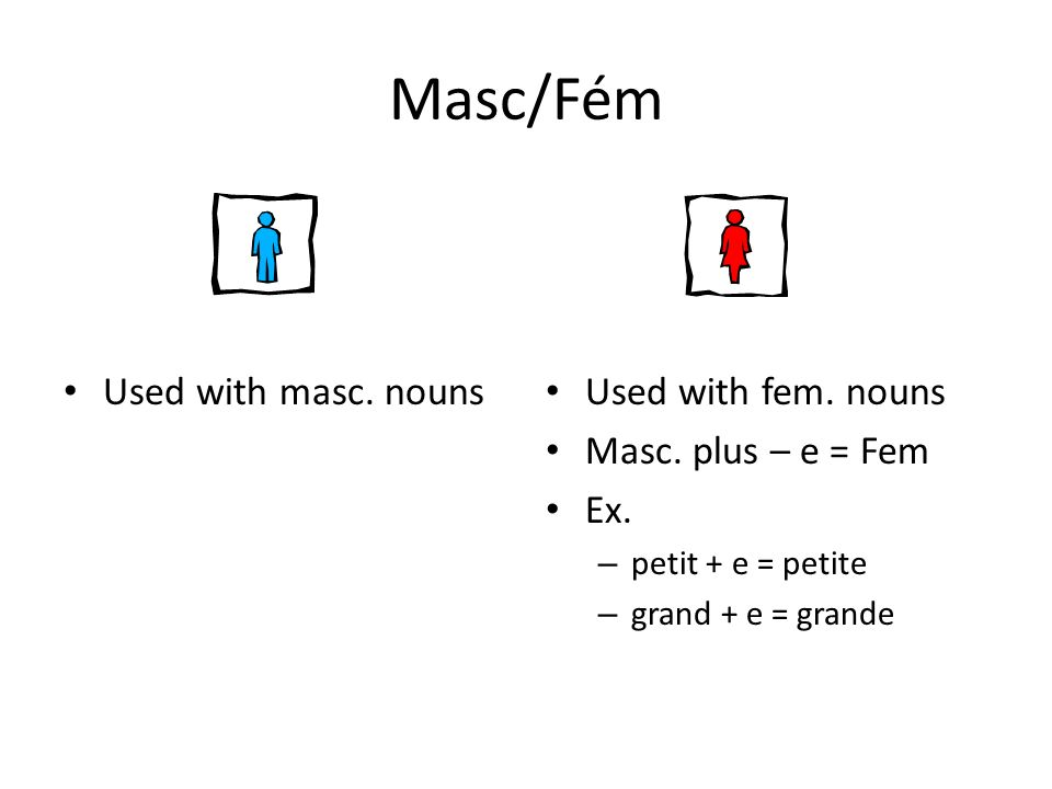 Masc/Fém Used with masc. nouns Used with fem. nouns