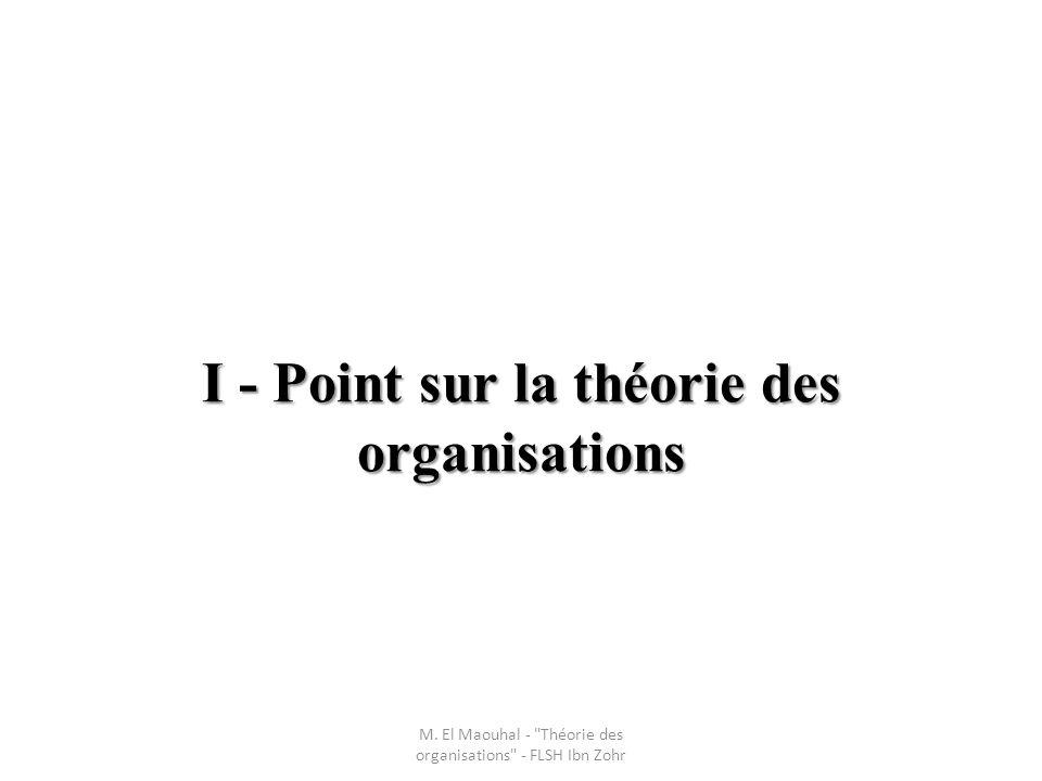 I - Point sur la théorie des organisations