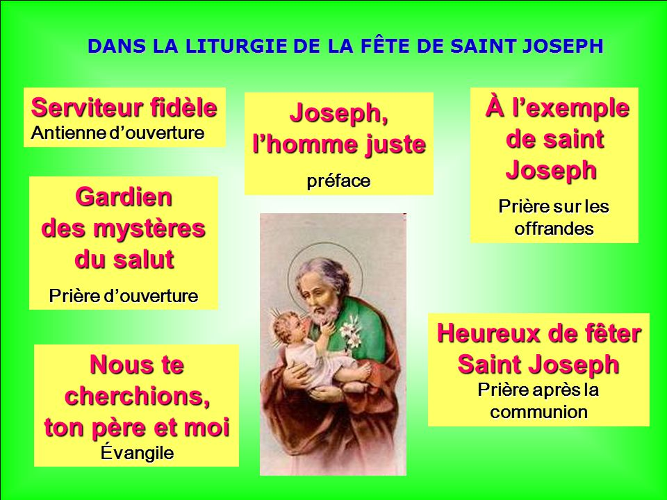 DANS LA LITURGIE DE LA FÊTE DE SAINT JOSEPH