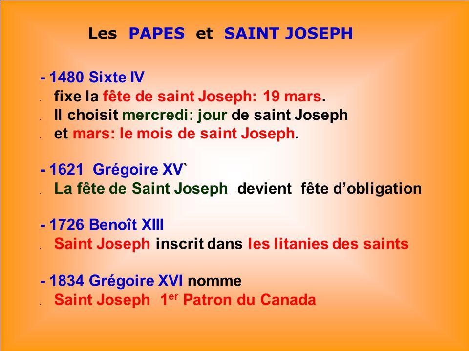 Les PAPES et SAINT JOSEPH