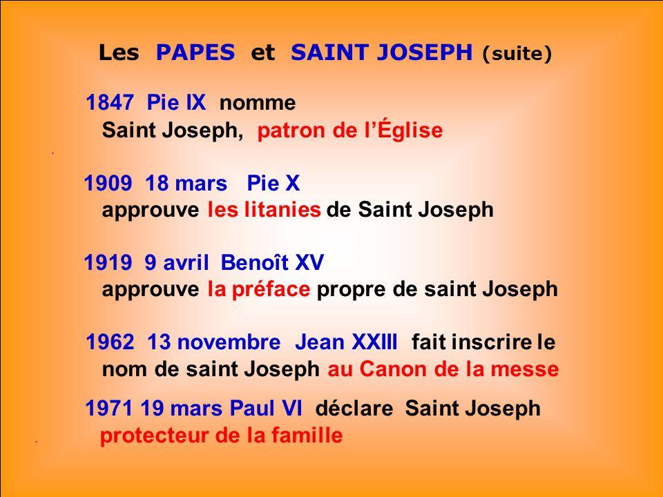 1847 Pie IX nomme Saint Joseph, patron de l'Église