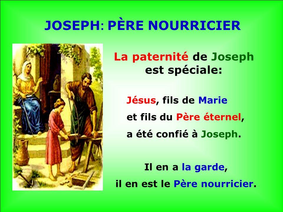 La paternité de Joseph est spéciale: il en est le Père nourricier.