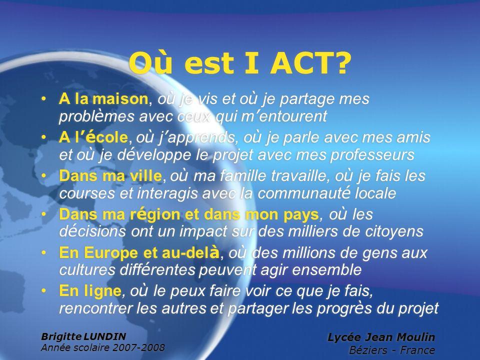 Où est I ACT A la maison, où je vis et où je partage mes problèmes avec ceux qui m'entourent.