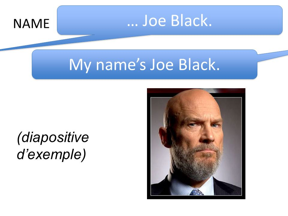 NAME … Joe Black. My name's Joe Black. (diapositive d'exemple)