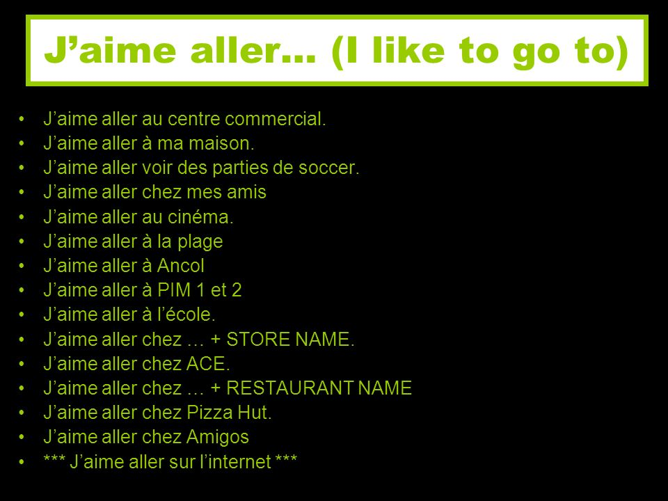 J'aime aller… (I like to go to)