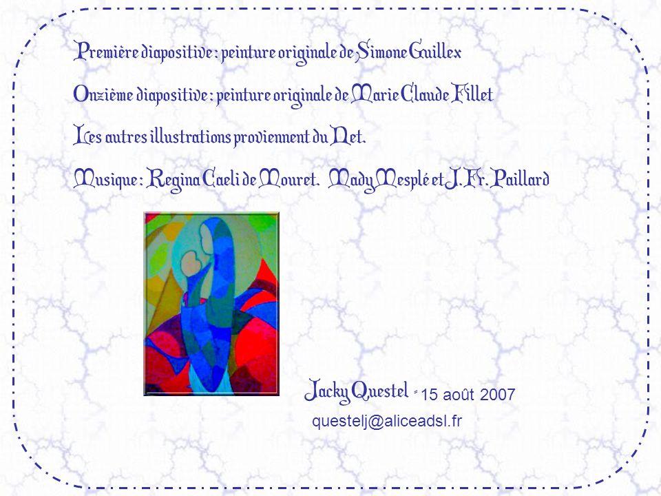 Première diapositive : peinture originale de Simone Guillex