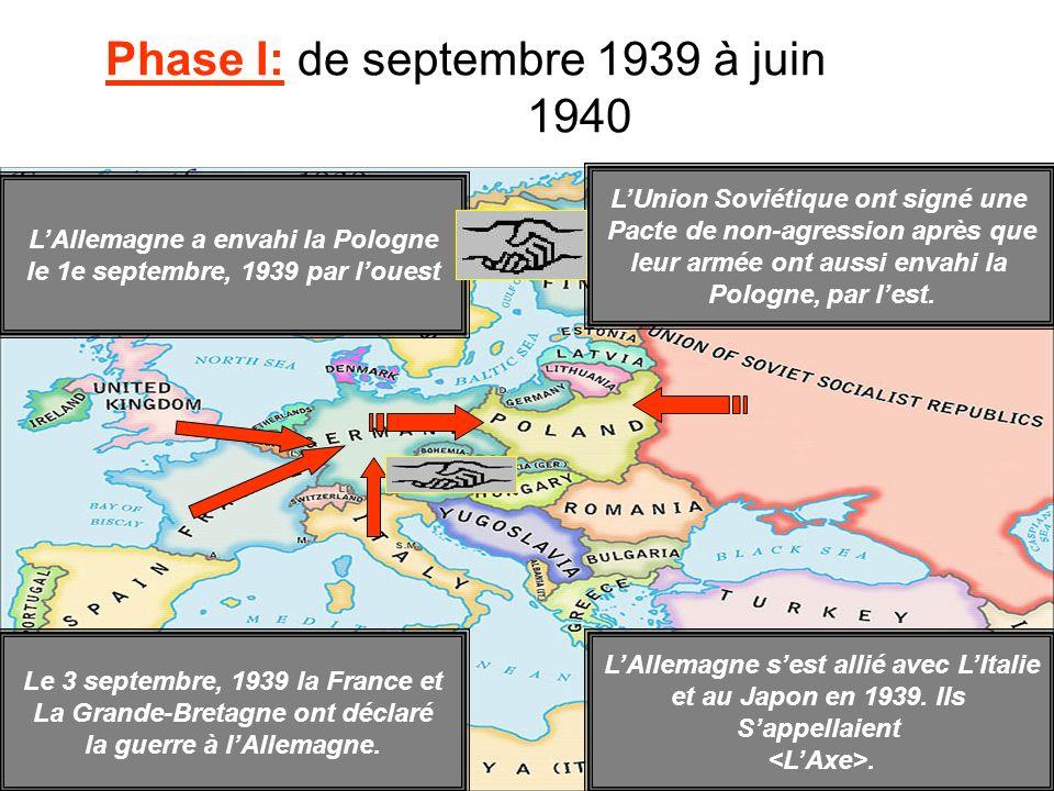 Phase I: de septembre 1939 à juin 1940