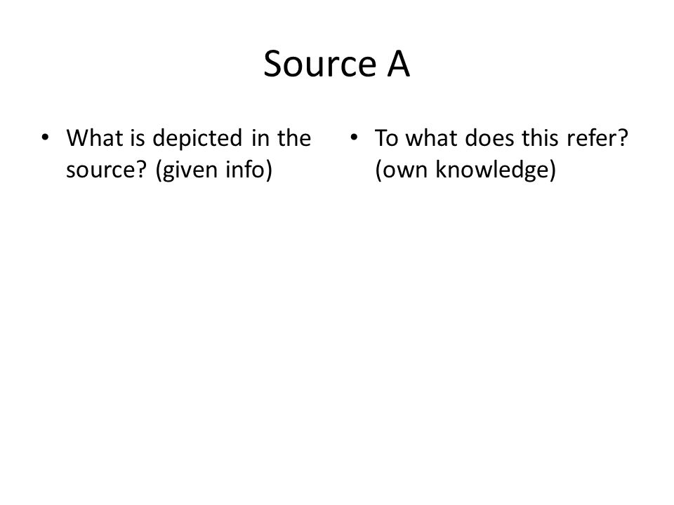 Source A What is depicted in the source (given info)