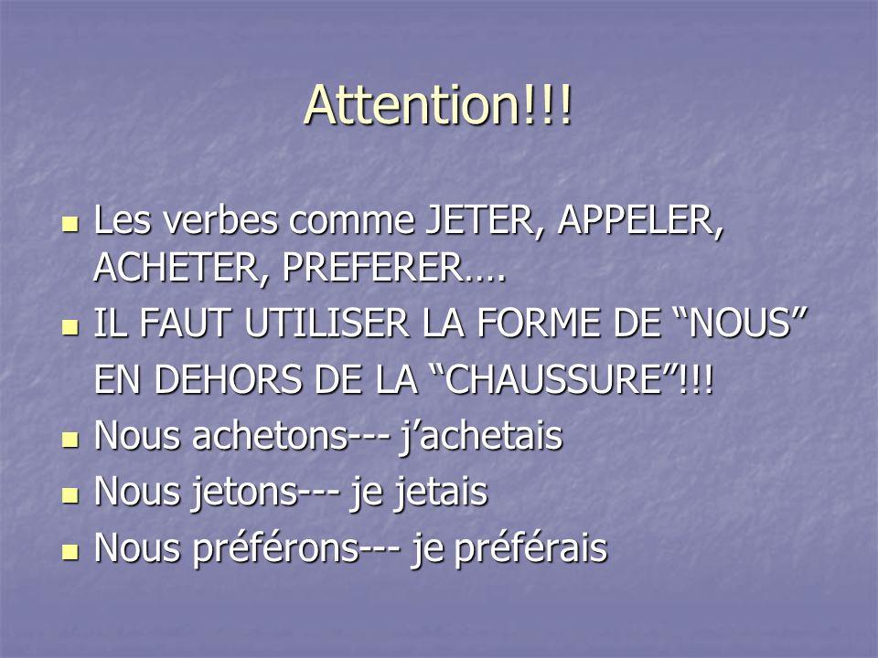 Attention!!! Les verbes comme JETER, APPELER, ACHETER, PREFERER….