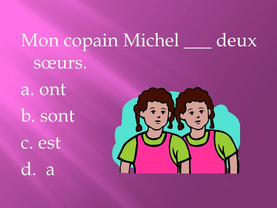 Mon copain Michel ___ deux sœurs. a. ont b. sont c. est d. a