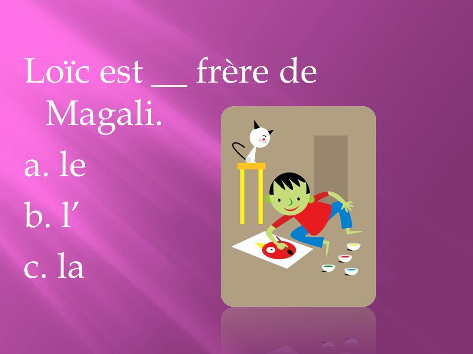 Loïc est __ frère de Magali. a. le b. l' c. la