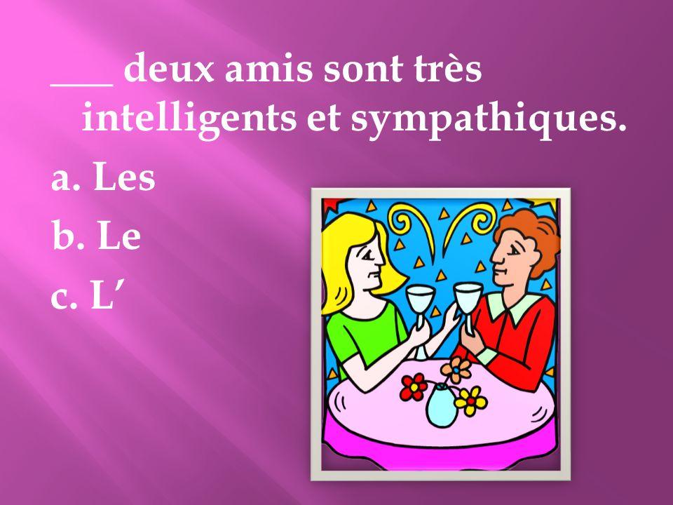 ___ deux amis sont très intelligents et sympathiques. a. Les b. Le c