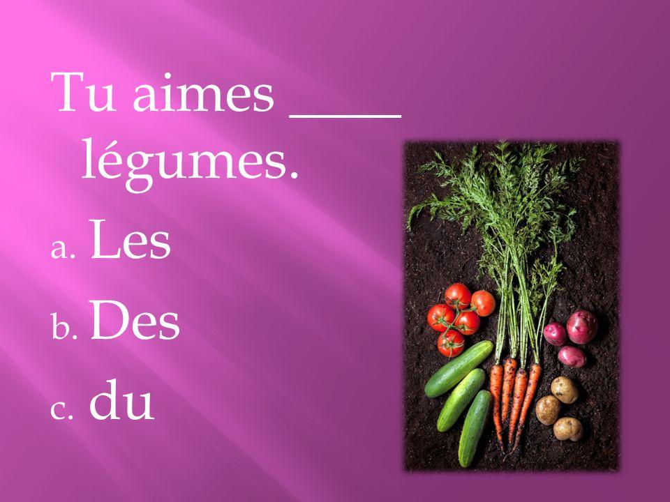 Tu aimes ____ légumes. Les Des du