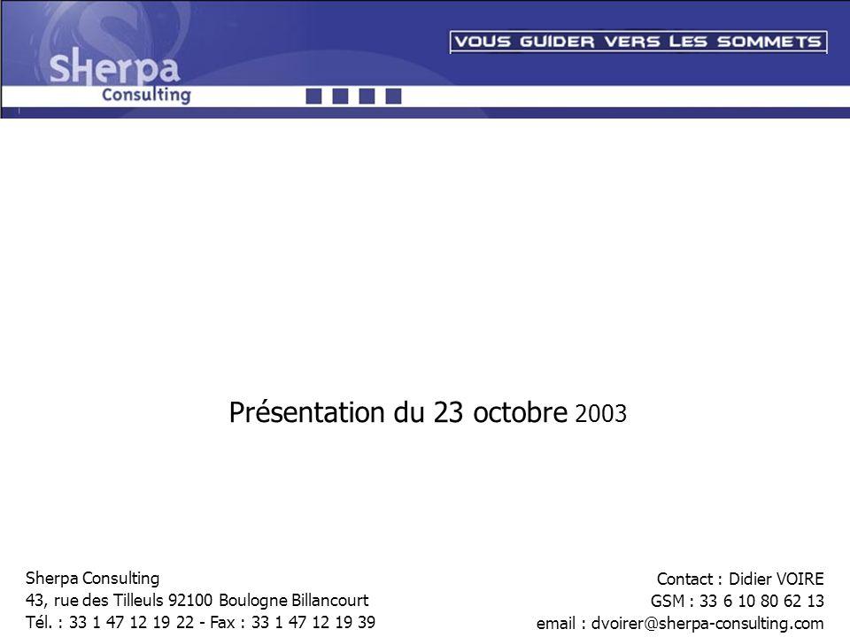 Présentation du 23 octobre 2003