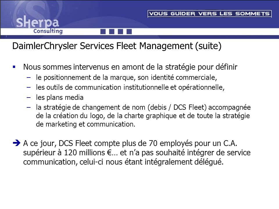 DaimlerChrysler Services Fleet Management (suite)