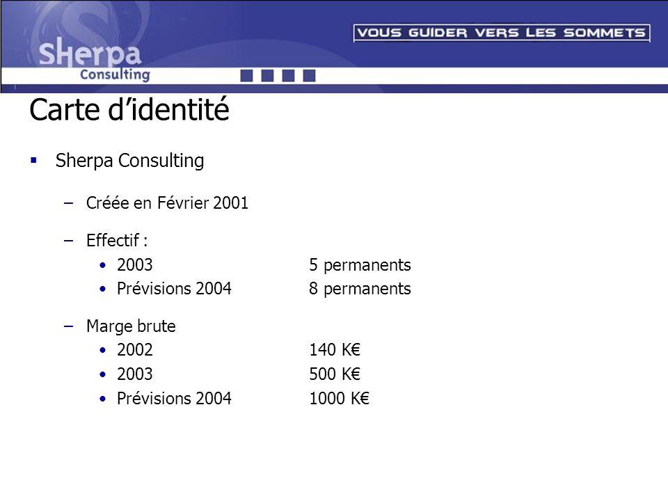Carte d'identité Sherpa Consulting Créée en Février 2001 Effectif :