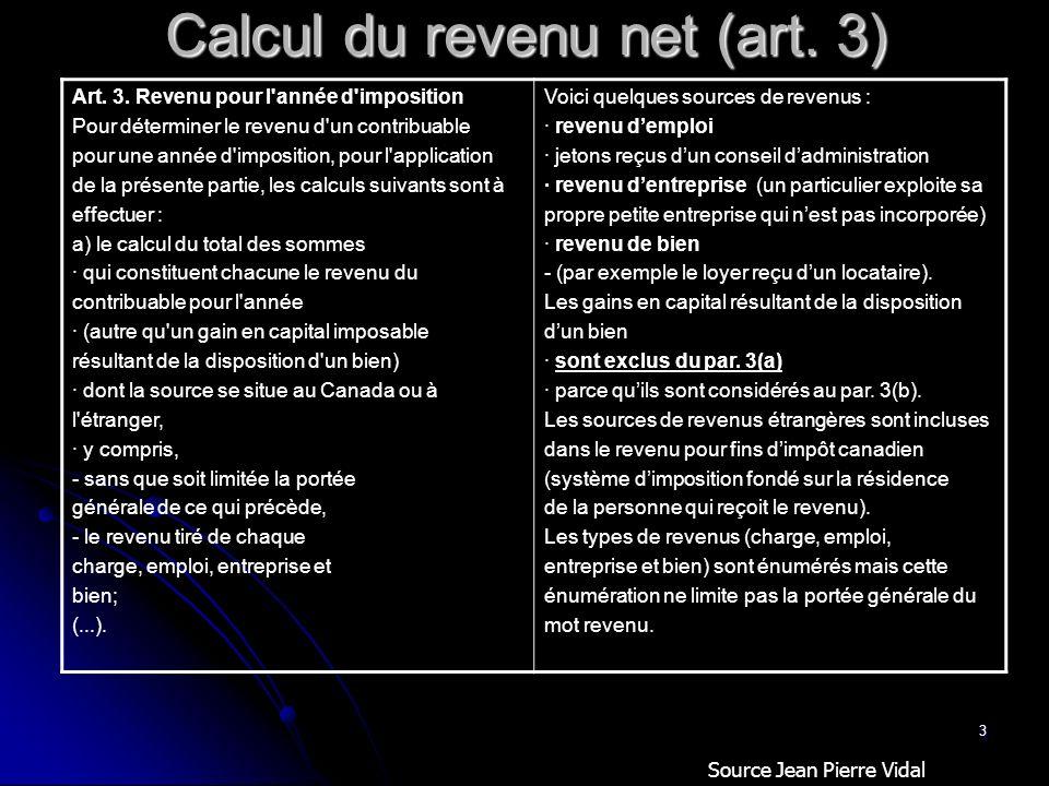 Calcul du revenu net (art. 3)