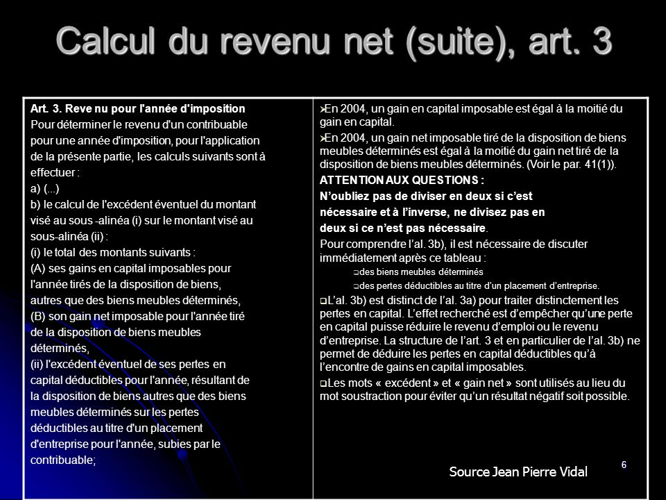 Calcul du revenu net (suite), art. 3