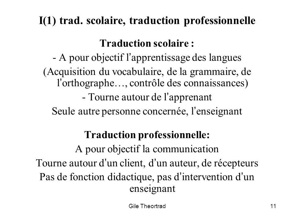 I(1) trad. scolaire, traduction professionnelle