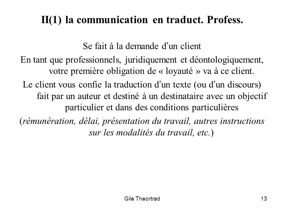 II(1) la communication en traduct. Profess.