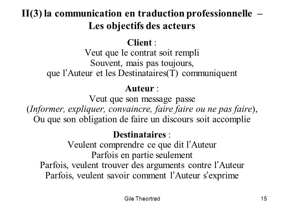 II(3) la communication en traduction professionnelle – Les objectifs des acteurs