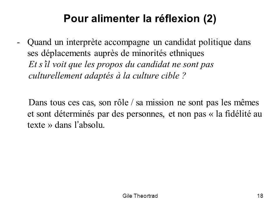 Pour alimenter la réflexion (2)