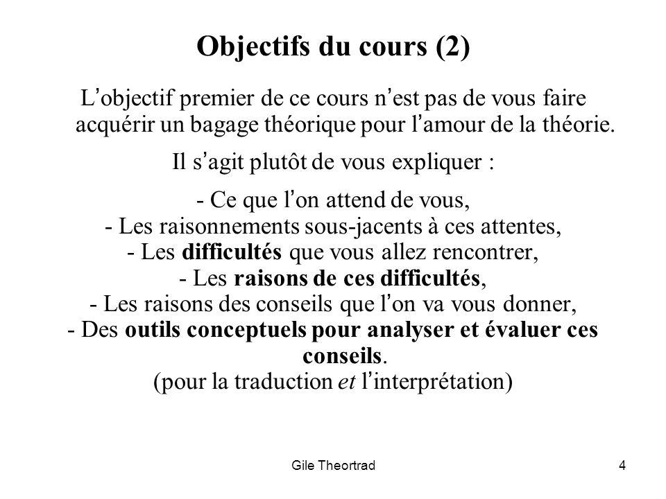 Objectifs du cours (2) L'objectif premier de ce cours n'est pas de vous faire acquérir un bagage théorique pour l'amour de la théorie.